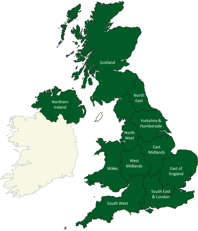 Clickable map of UK Regions